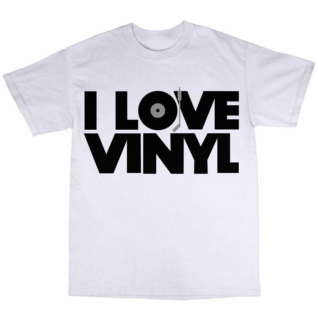 Виниловая футболка с надписью «I Love» из 100% хлопка для коллектора DJ House Techno MP3