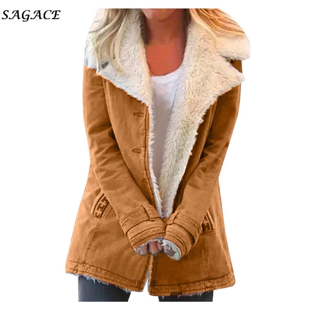 Ropa Sagace Abrigos Mujer moda invierno primavera sólido de manga larga talla grande compuesto PlushButton chaqueta con solapa Outwearcoat