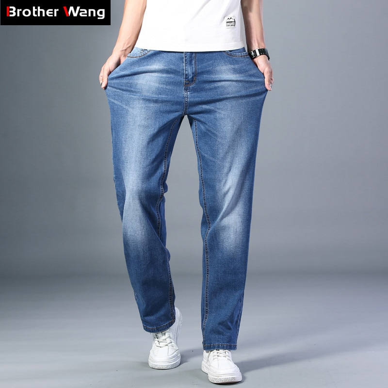 7 Colors Available Men's Thin Straight-leg Loose Jeans 2021 Summer New Classic Style Advanced Stretch Loose Pants Male Brand