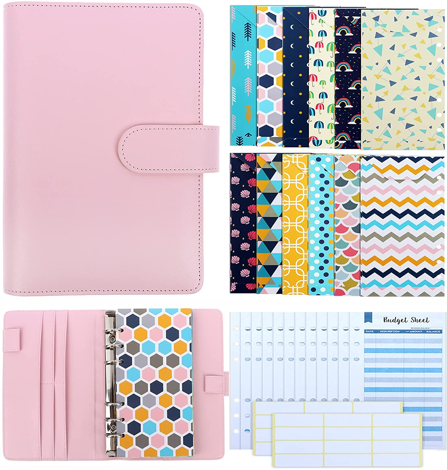 28 Pieces PU Leather Budget Planner Organizer Binder Cash Envelope System with 12 Money Envelope and Expense Budget Sheets