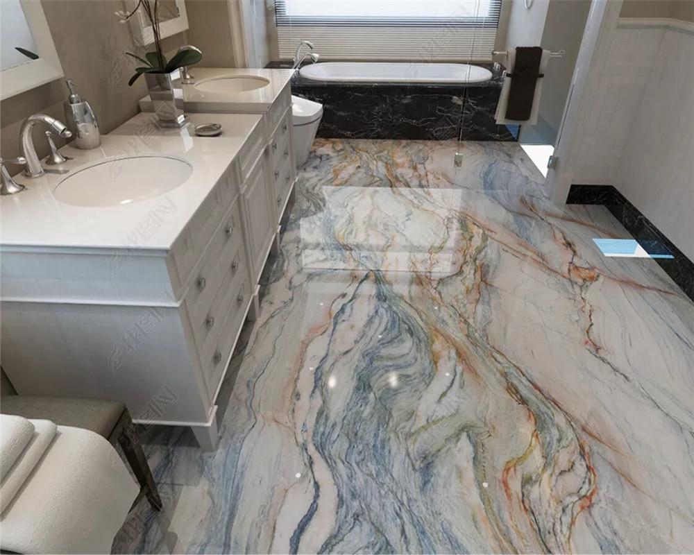 Пользовательские персональные ультра ванная комната мраморный пол фон 3d обои papel де parede обои домашний декор