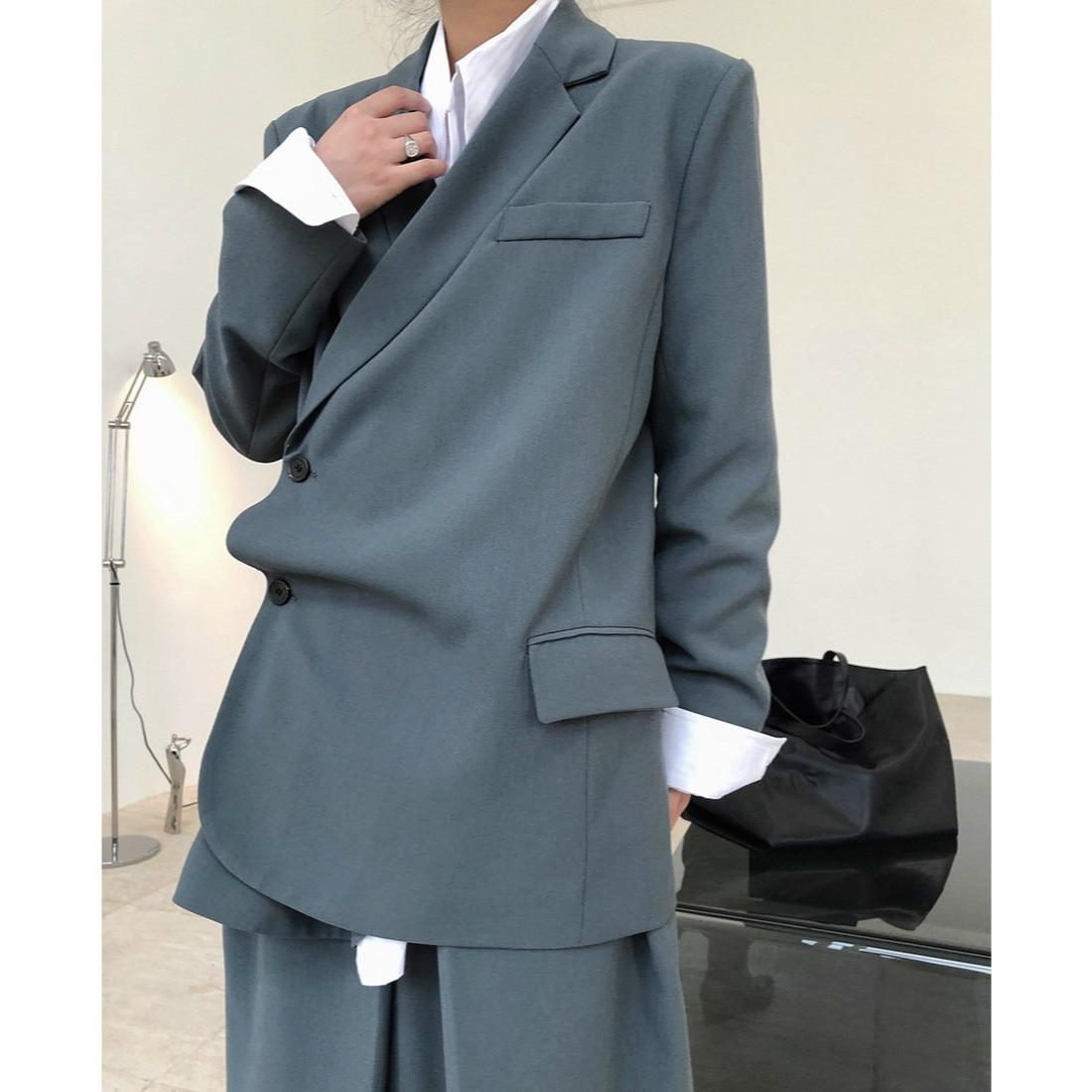 High Quality Coats Women 2020 Autumn New Fashionable Stylish Design Oblique Placket Loose Long Sleeve Blazer Feminino