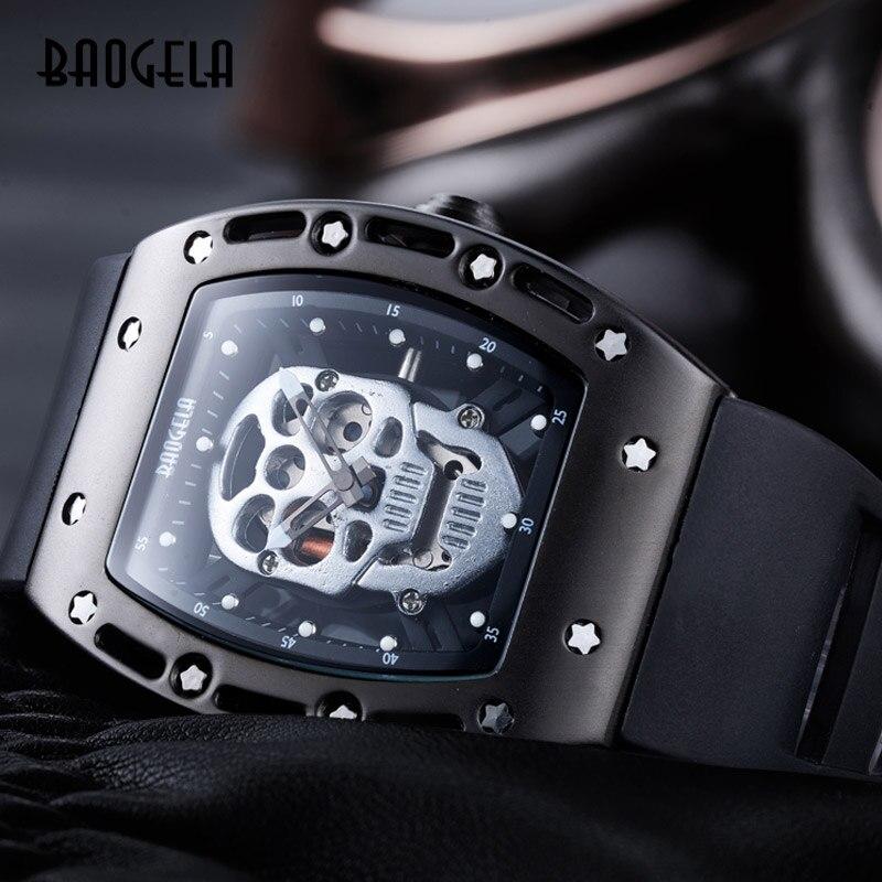 Rostro de cadran rectángulo de crâne darm ée de pulsera de silicona noir lumineux des hommes avec des étoiles de relojes de cuarzo B