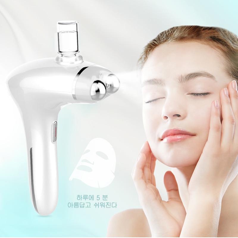 آلة شد وإزالة تجاعيد الوجه مدلك الوجه البخاخة بندقية رذاذ ترطيب LED الفوتون تجديد الجلد ثبات جهاز الجمال