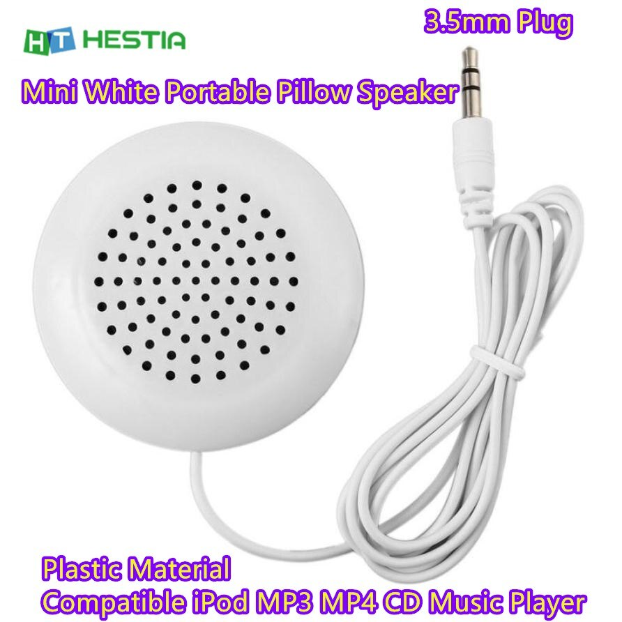 Venda quente barato mini branco portátil travesseiro alto-falante 3.5mm plug universal plástico música ipod mp3 mp4 cd player de áudio alto falante