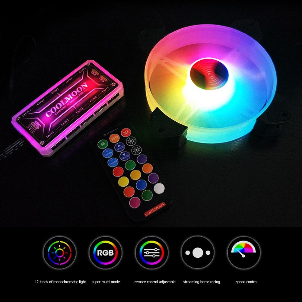 COOLMOON 120mm Chassis RGB Lüfter PC Desktop Fall Wunderschöne Beleuchtung Ruhig Kühler Kühlkörper Kühler Mit fernbedienung