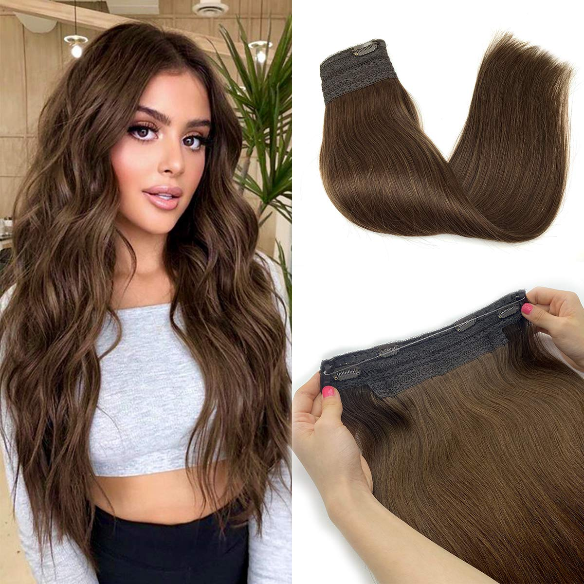 Headband Halo Extensions Piano Natural Straight Halo Hair Extensions With Clips Elasticity Invisible Wire Remy Hair Pieces