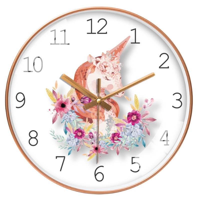 Diseño De unicornio De cartón grande Reloj De pared artístico Duvar Saati Relogio De Parede reloj moderno Horloge murale para la decoración De la sala De estar
