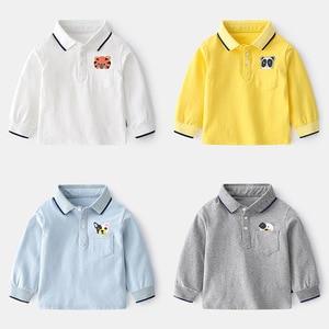 Spring New Kids Polo Shirt Long Sleeve Boys Polo Shirts Cartoon Animals Cotton Kids Tops Baby Shirt For Kids 2-7year