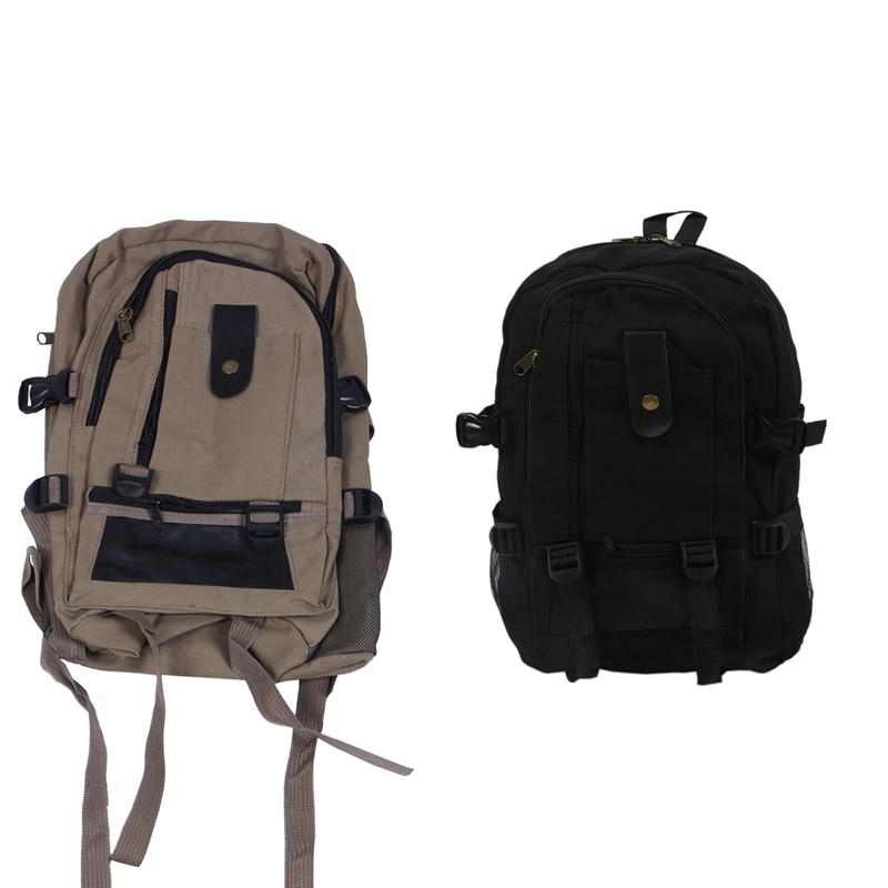 2 Pcs Male Retro Leisure Tourism Canvas Backpack , Black & Dark Khaki