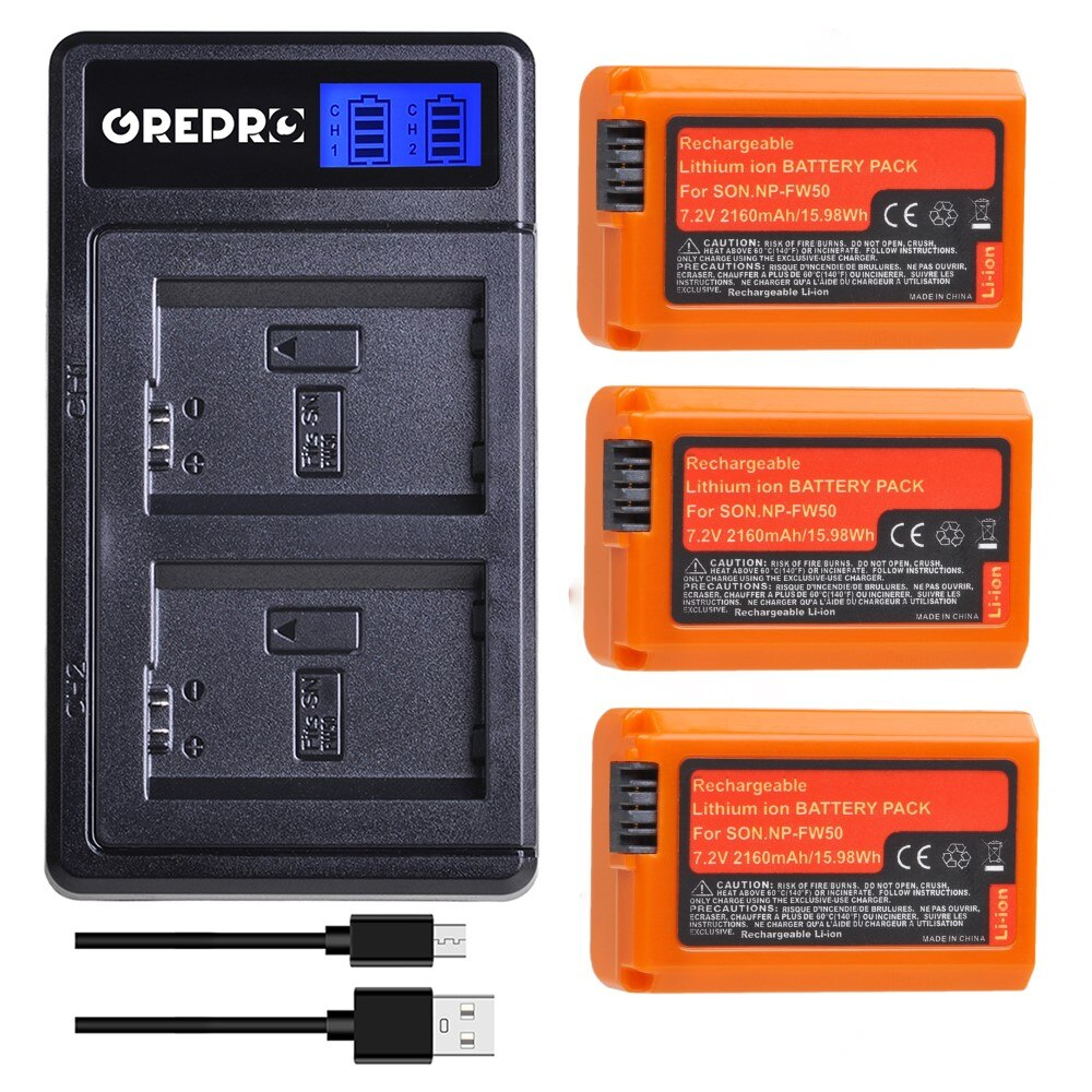 3 uds 2160mAh NP-FW50 NP FW50 batería + LCD doble USB cargador...