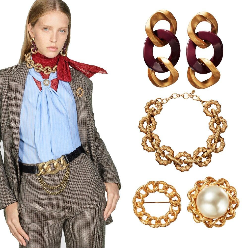 Ladyfirsy, edición limitada, conjunto de pulseras con gargantilla de eslabones geométricos, regalo de boda para mujer, Vintage pendientes, conjunto de anillos de joyería, accesorios