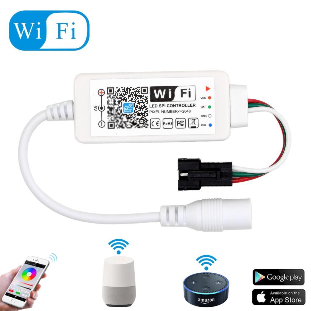 DC5-24V Mini Wifi WS2811 WS2812B RGB tira de LED de luz controlador Amazon Alexa/Google teléfono inteligente voz IOS/Android APP Control