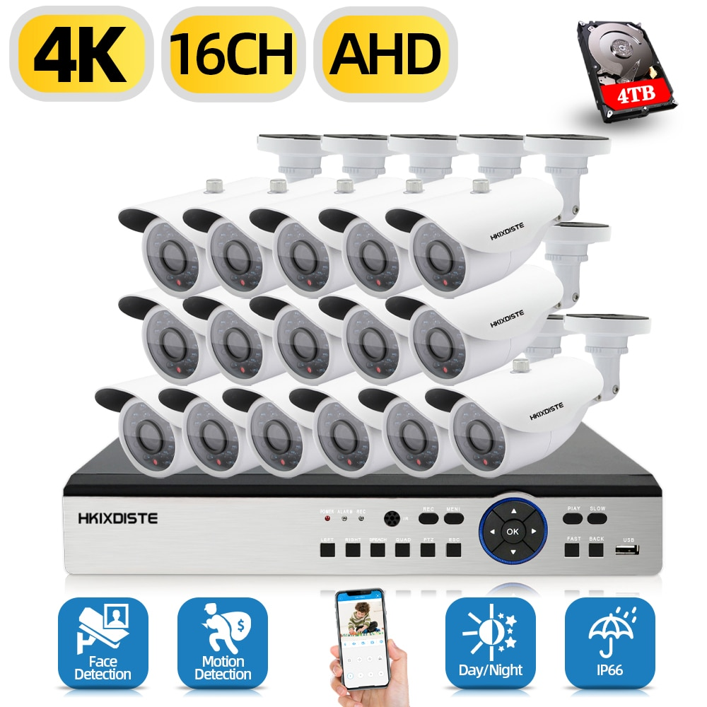 Hkixdispe H.265 8/16 قطعة AHD 8MP الأمن في الهواء الطلق كاميرا مصغرة 16CH AHD HDMI 4K الوجه كشف DVR نظام المراقبة بالفيديو مجموعة