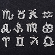 1 Pcs Designer Alphalet Silver And Gold 12 Zodiac Sign Metal Letter Diamond Charm With Shoe Charms f
