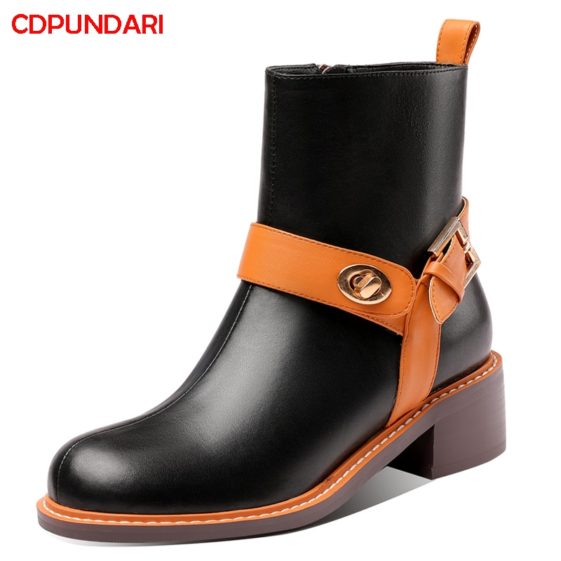 Black Genuine Leather Med Heels West Ankle Boots For Women Autumn Winter Punk Short Boots Shoes Bottine Femme Botines Mujer