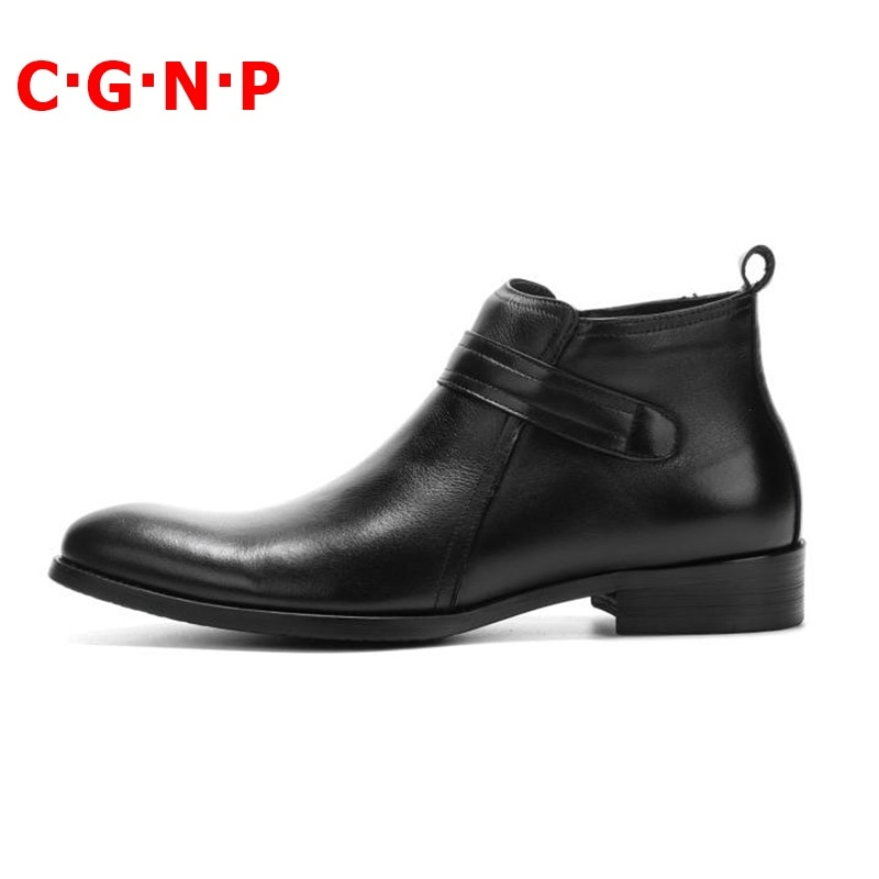 Купить с кэшбэком CGNP Short Plush Warm Autumn Winter Boots Men Genuine Leather Pointed Toe Chelsea Boots High-top Men Shoes Ankle Boots