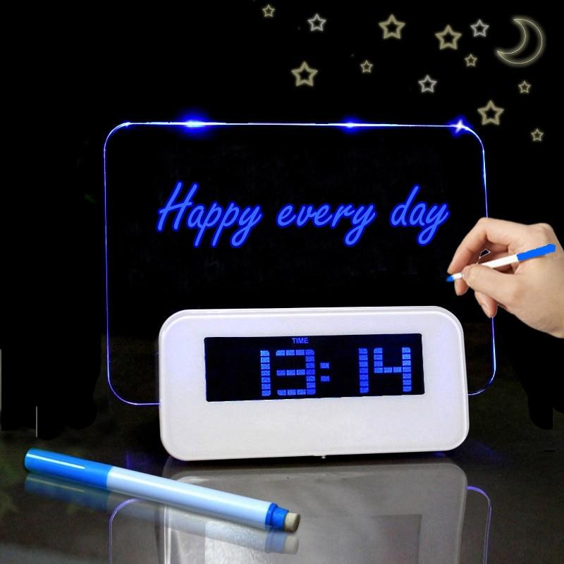 Reloj despertador LED Digital calendario luz nocturna módem alarma retroiluminación reloj de escritorio con Cable USB fluorescente tablero de mensajes