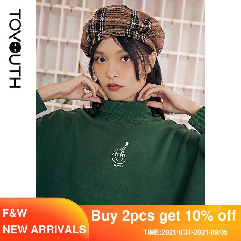 Женский свитшот с высоким воротом и вышивкой, свободного покроя