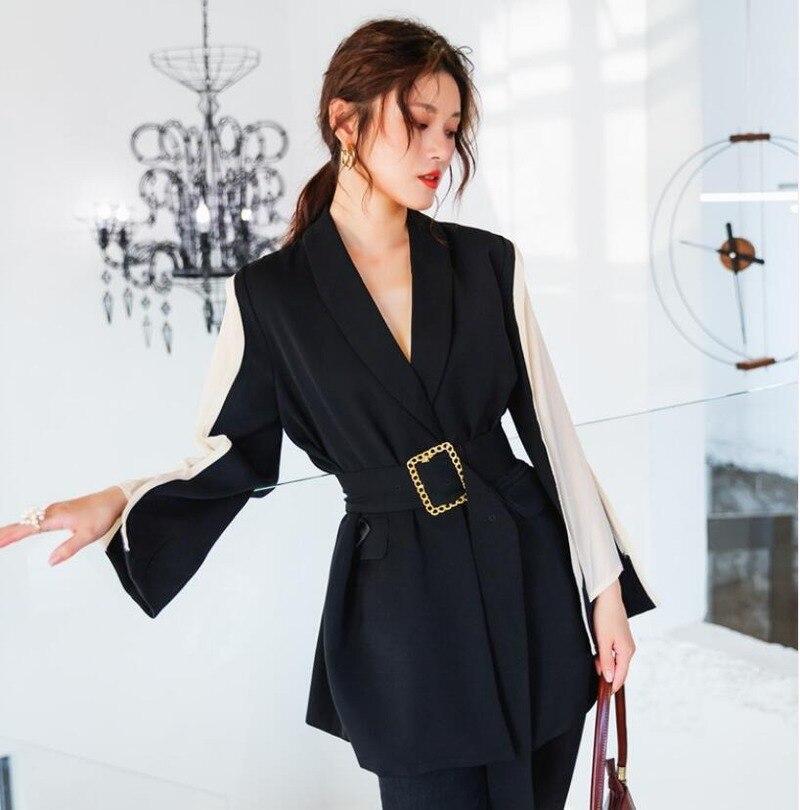 Blazer Feminino Spring and Autumn Women Blazers New Style Thin Mixed Colors Waist Hugging Lace-up Su