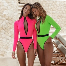 Colorblock Plunge V Neck One Piece Swimsuit Long Sleeve Women High Waist Rashguard 2020 New Bathers Beach Sporty Bathing Suits