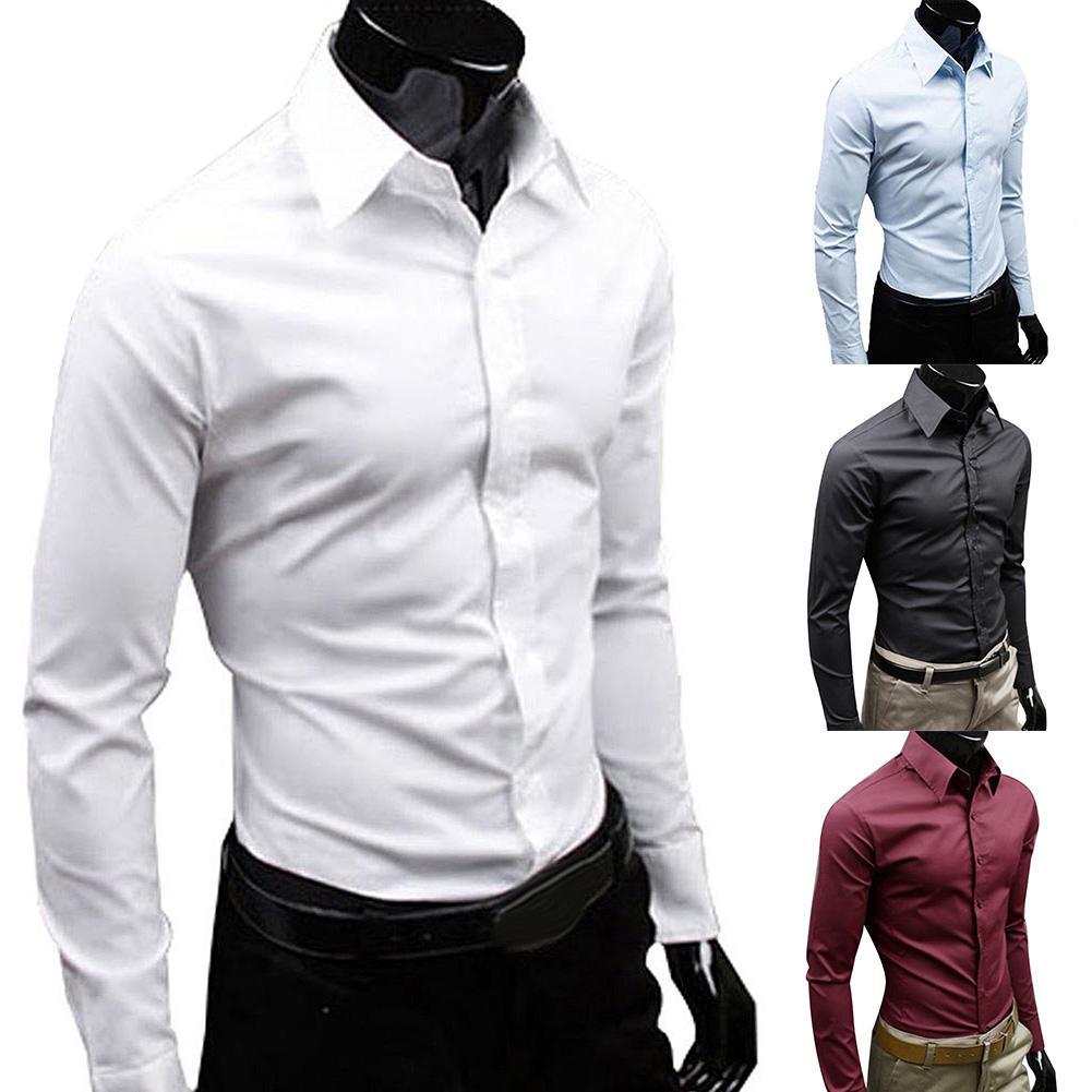 Men Autumn Long Sleeve Casual Elegant Work Shirt Business Men Solid Color Long Sleeve Buttons Down Slim Cotton Plus Size Shirt