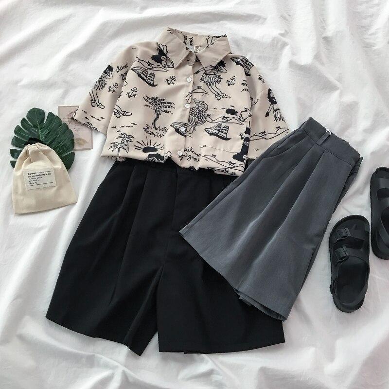 Gray Suit Casual Pants Women's Slimming Versatile Summer Thin 2021 New High Waist Wide-Leg Half Pant