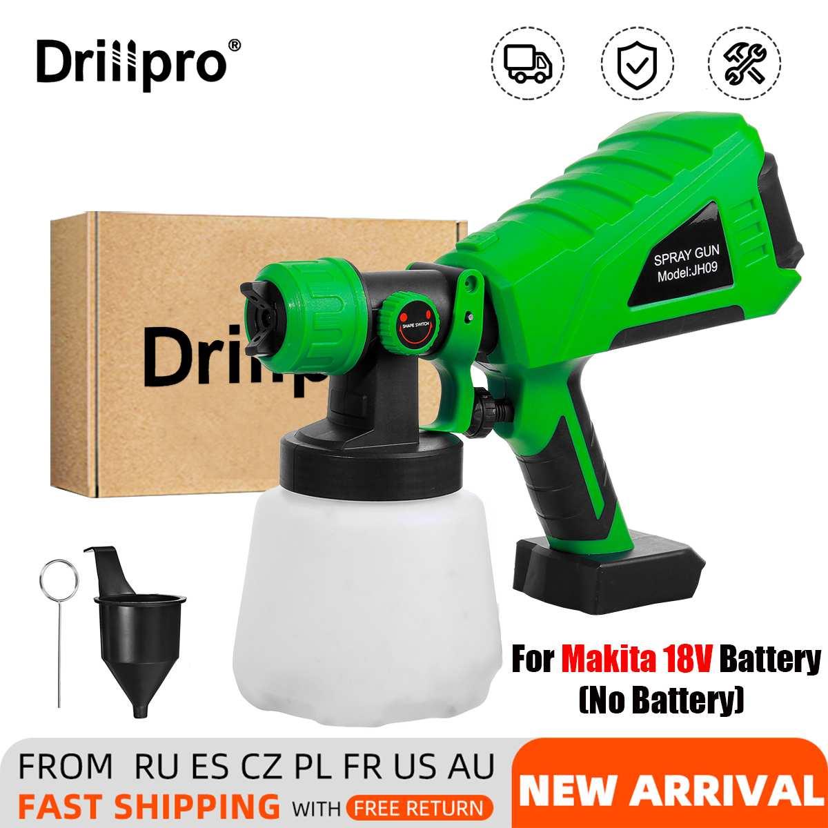 Drillpro 1000 مللي بندقية رذاذ كهربائية لاسلكية المنزلية رشاش دهان البخاخة فوهة ضبط رش السيارة لبطارية ماكيتا 18 فولت