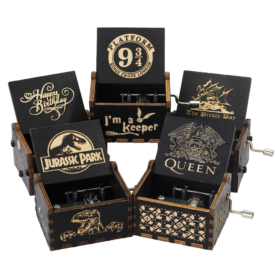 Drop Shopping Wooden Carved Music Box Hand-cranked Musical Box Potter Theme Music Box Birthday Gift