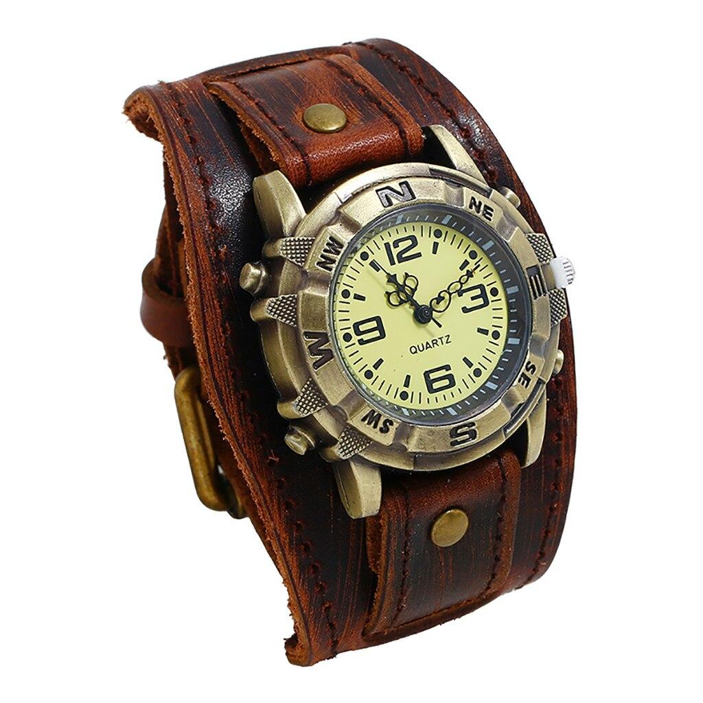 Reloj para hombre Casual romano Punk Retro Simple moda Pin hebilla Correa cuero reloj de cuarzo regalo reloj vestido reloj masculino Q