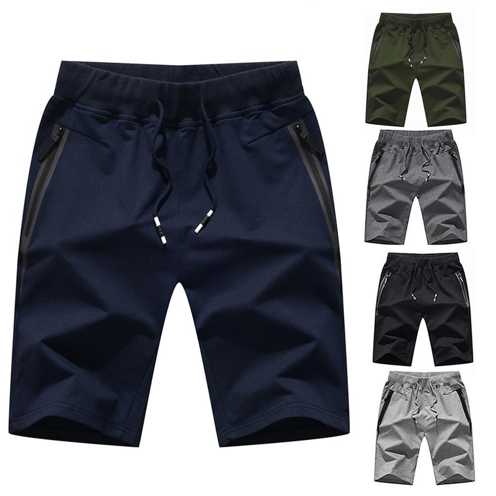 Men Fashion Casual  Shorts Beach Pants Summer Soft Breathable Drawstring Pockets Sport