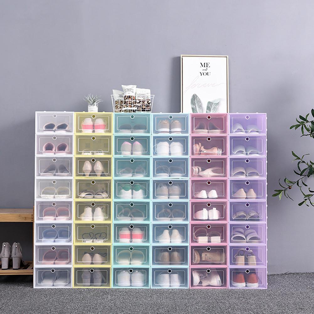 1PC lip-Open Cover Plastic Shoe Hanger Shoes Storage Box Transparent Shoe Box Drawer Divider Shoes Drawer Case Shoes Organizer