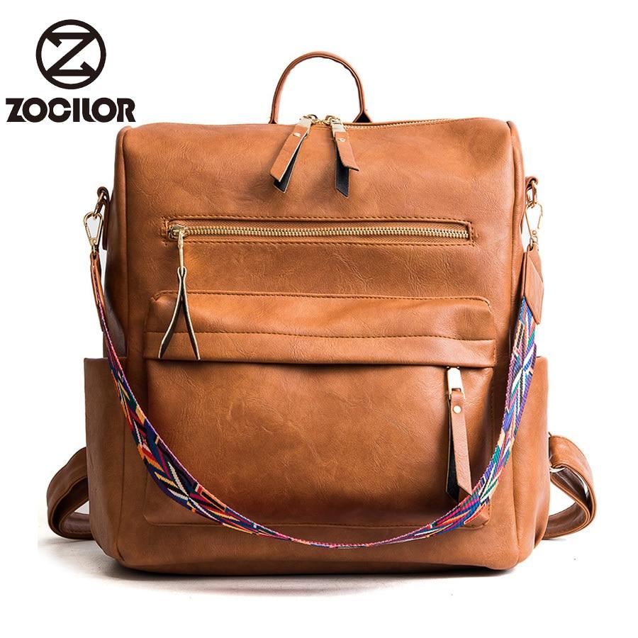 High Quality Retro Large Backpack Women PU Leather Rucksack Women's Knapsack Travel Backpacks Shoulder School Bags
