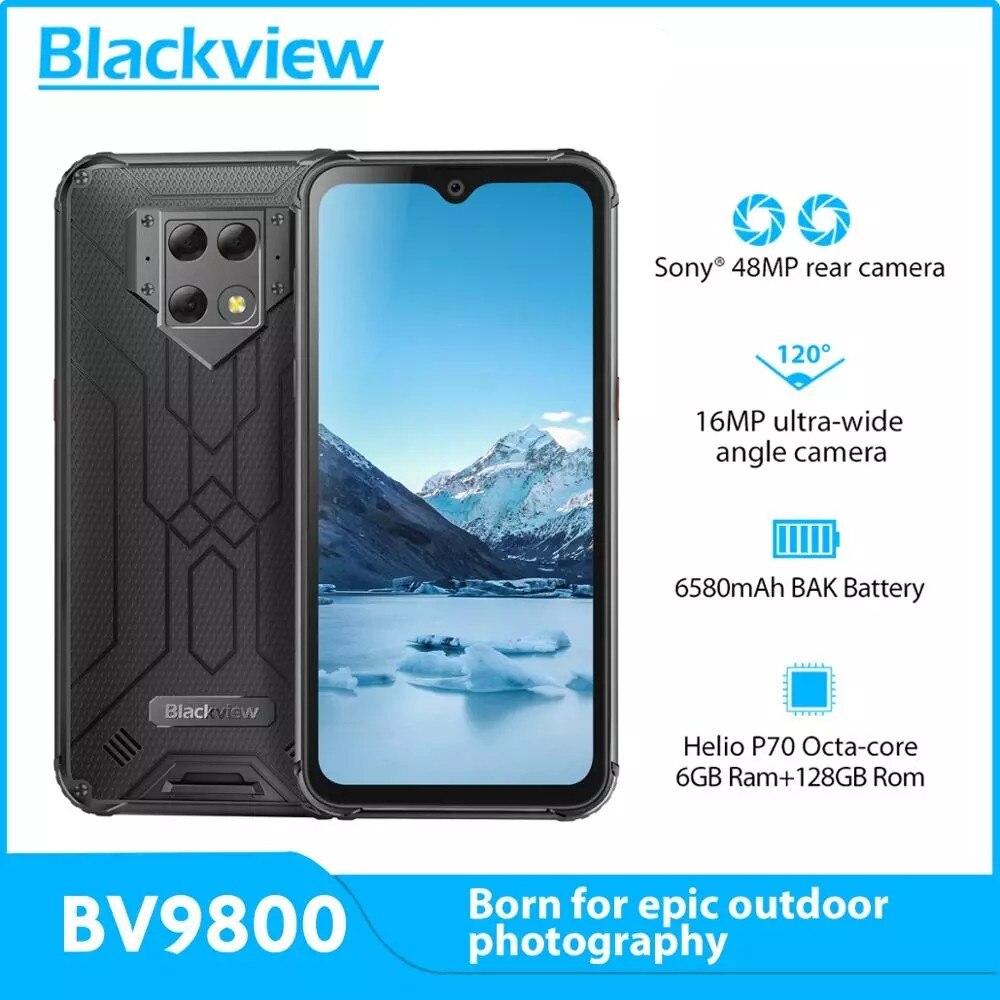 Оригинальный Blackview BV9800 Helio P70 Android 9,0 6 ГБ + 128 Гб Смартфон 48MP IP68 Водонепроницаемый 6580 мАч 6,3 дюйм FHD NFC 4G мобильный телефон