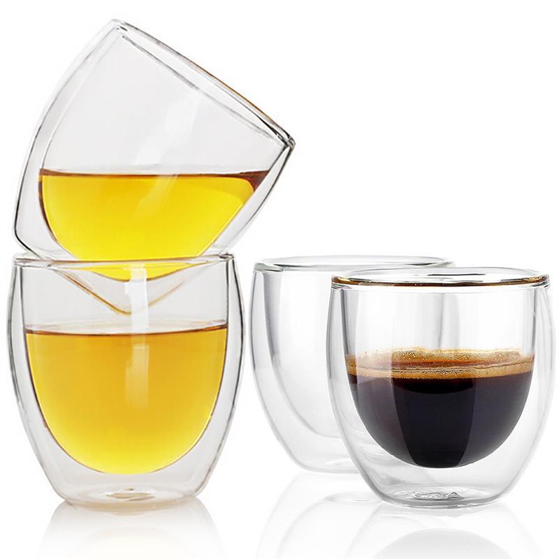 Juego de 4 tazas de café expreso, tazas de café Latte, Cappuccino, tazas de té, 80 mililitros/2. Vasos de Espresso de doble pared de 7 onzas