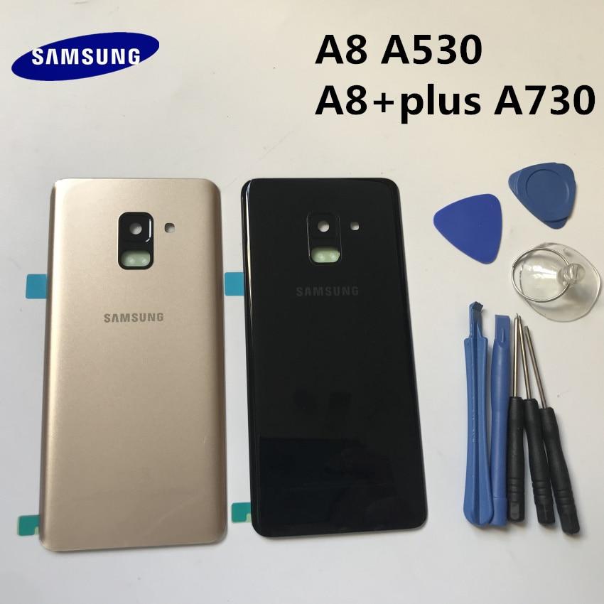 Reemplazo A8 A8 + Original cubierta de puerta trasera de cristal de la batería del Panel trasero para Samsung Galaxy A8 A8 + plus A530 A530F A730 A730F + herramienta