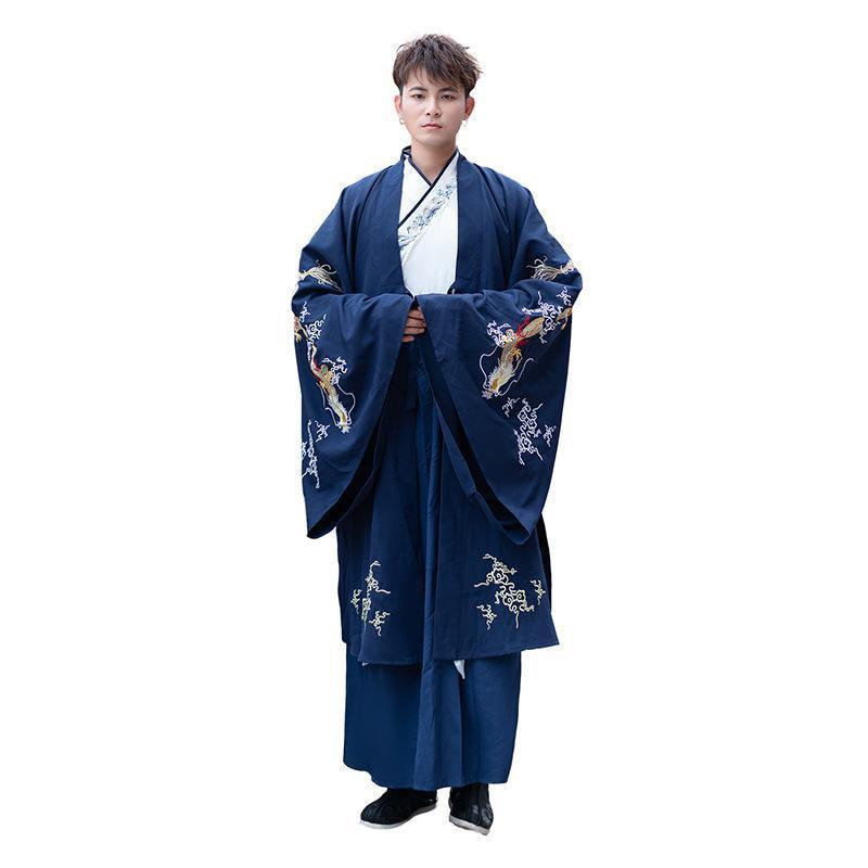 الكبار الأزواج الأزرق Hanfu مجموعات التقليدية الصينية فستان بتصميم حالم زوجين زي هالوين تنكري للرجال/النساء حجم كبير 4XL