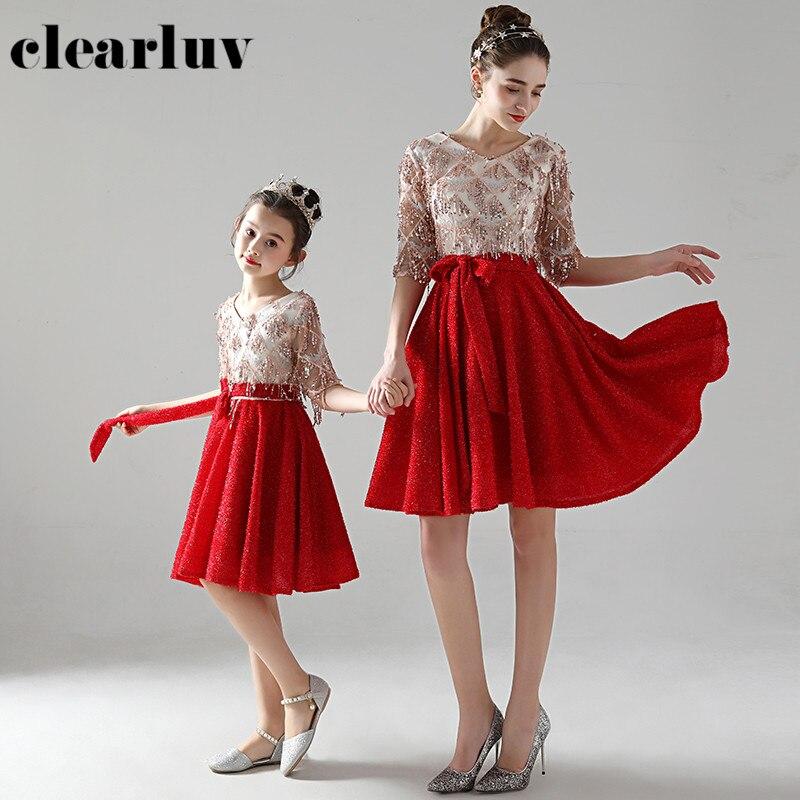 Одежда для родителей и детей красное платье трапециевидной формы выпускного