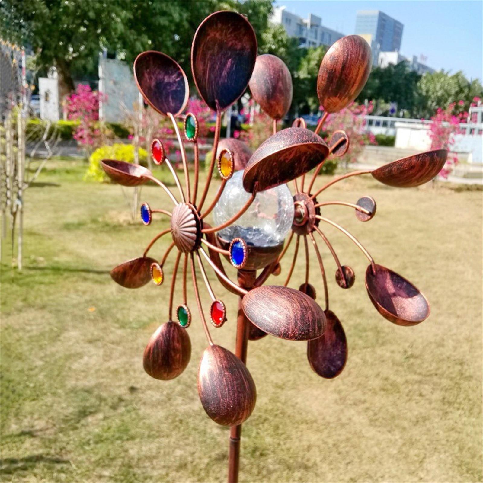 Grand Métal Solaire Vent Spinner LED Extérieure de Pelouse de Jardin Décor Sculpture décoration de jardin en plein air