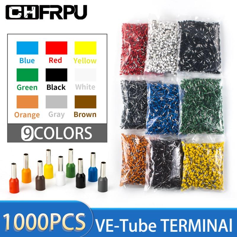 1000 Uds terminales eléctricos para cable tipo de tubo aislado prensado en...