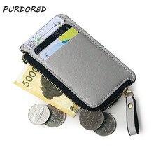 PURDORED 1 Pc Credit Card Holder Wallet Black Men Coin Purse PU Leather Business Card Holder Zipper Mini Clutch  Wallet Bag