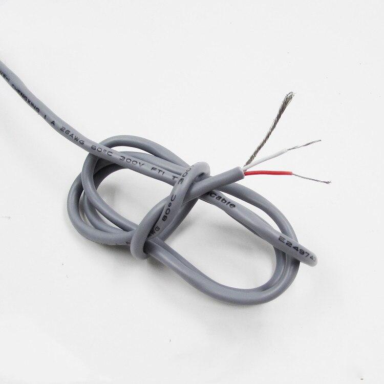 5M con Cable de Audio escudo Cable de Audio gris estéreo 26AWG amplificador de potencia línea de transmisión de Audio diámetro exterior 3mm de línea de Audio