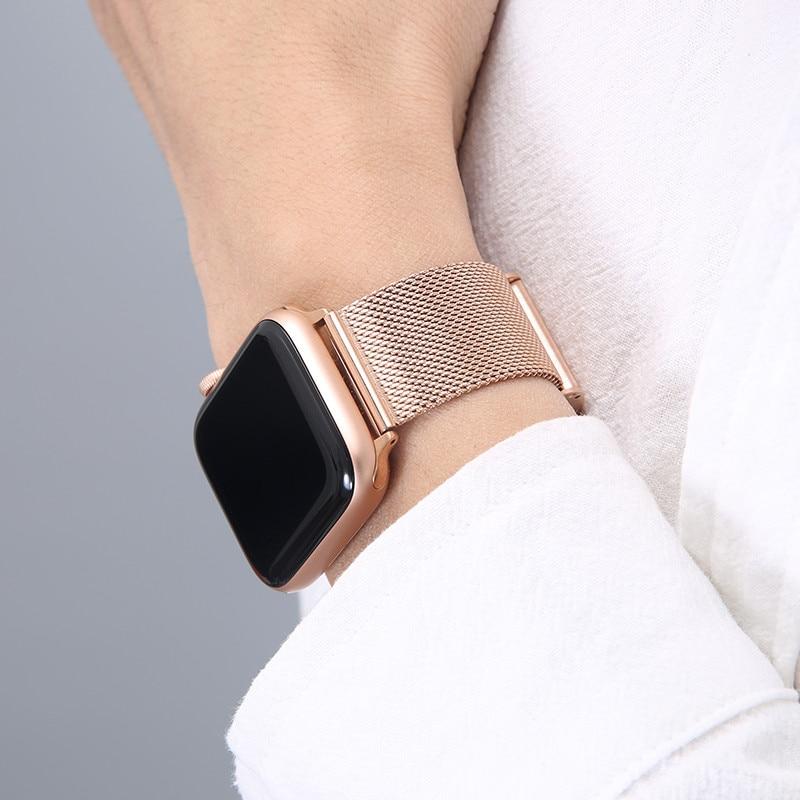 Strap For Apple Watch Series 6 7 Band SE 44mm 40mm iWatch 5 4 Milanese Strap For Applewatch 3 42mm 38mm Stainless Steel Bracelet