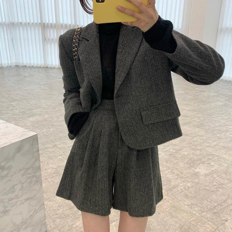 Women Short Suit Korean Chic Lapel Loose Herringbone Tweed Jacket High Waist Wide Leg Casual Pants S
