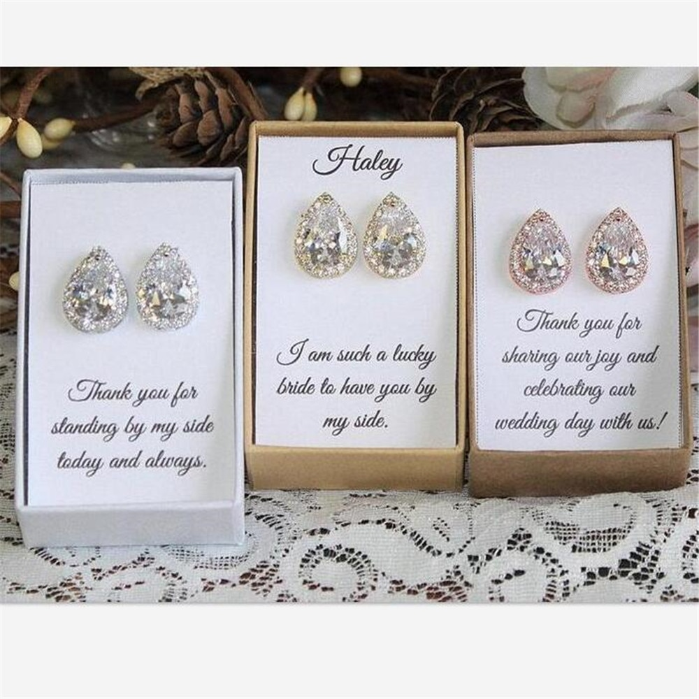 Brautjungfer Geschenk, Custom Brautjungfer Ohrringe, Braut Party Geschenk, Hochzeit Ohrringe, Zirkonia Ohrringe jede sprache