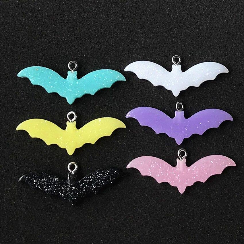 10 pçs bonito multicolorido resina flatback bat e ghost encantos para colar chaveiro pingente diy fazendo acessórios