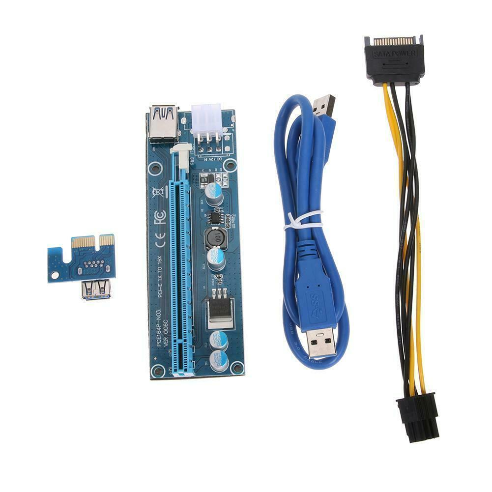 pcie x1 x4 extender adapter jumper for audio wireless lan usb cards pci e 1x to 4x pci express cables extension cable x4 female New Pcie Pci-e Pci Express Riser Card 1x To 16x GPU Extender 3.0 Riser Miner SATA X1 X16 Cable 6Pin Usb Adapter Power Card