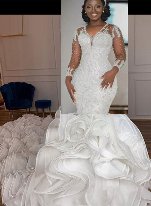 العرف الزفاف فستان بأكمام طويلة الكشكشة تنورة زي العرائس