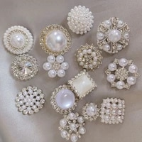 5pcs flower shape pearl rhinestone buttons clothing coat sweater snap buttons decorative