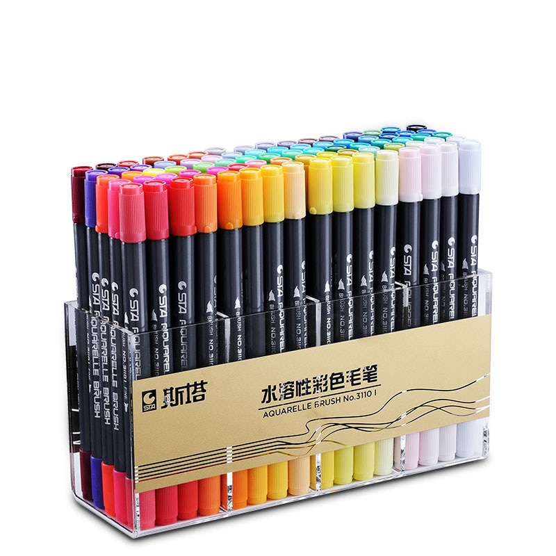 Water-based soft marker head double paint in watercolor pen pen-dyed brush pen hand painted stationery painting for children